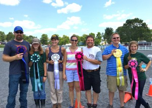 Top six finishers in the egg and spoon. Notice who is holding more ribbons.