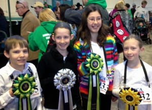 Jonathan, Sarah, Natalie and Jessica Joy proudly display their ribbons.
